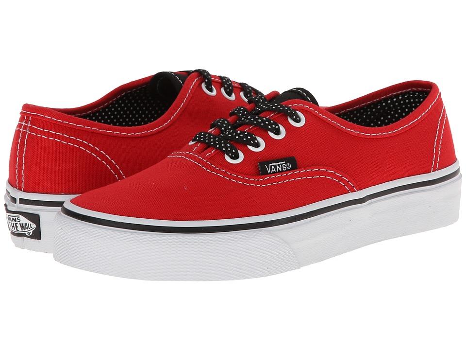 Vans Kids - Authentic (Little Kid/Big Kid) ((Polka Dots) High Risk Red/Black) Girls Shoes