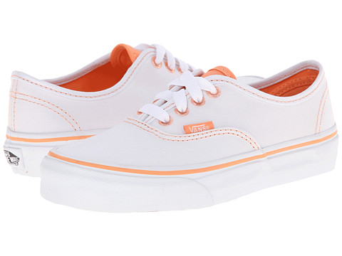 Vans Kids - Authentic (Little Kid/Big Kid) ((Clear Eyelets) True White/Cantaloupe) Girls Shoes
