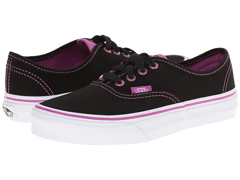 Vans Kids - Authentic (Little Kid/Big Kid) ((Clear Eyelets) Black/Radiant Orchid) Girls Shoes