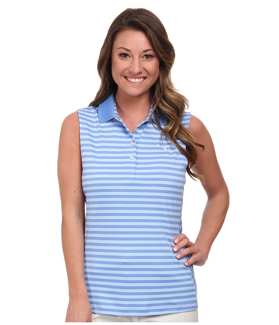 PUMA Golf - Stripe Sleeveless Polo (Ultramarine) Women