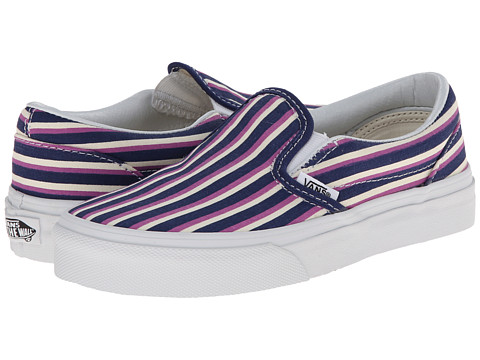 Vans Kids - Classic Slip-On (Little Kid/Big Kid) ((Multi Stripes) Blue/Radiant Orchid) Girls Shoes