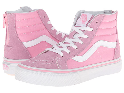 Vans Kids - Sk8-Hi Zip (Little Kid/Big Kid) (Prism Pink/True White) Girls Shoes