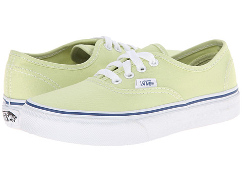 Vans Kids - Authentic (Little Kid/Big Kid) (Shadow Lime/True White) Girls Shoes