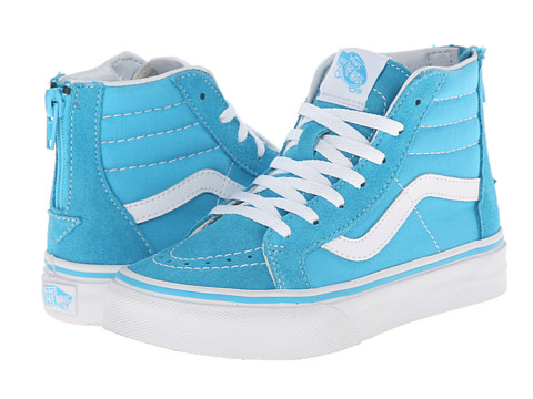 Vans Kids - Sk8-Hi Zip (Little Kid/Big Kid) (Cyan Blue/True White) Girls Shoes