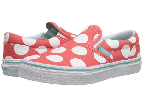 Vans Kids - Classic Slip-On (Little Kid/Big Kid) ((Polka Dots) Hot Coral) Girls Shoes