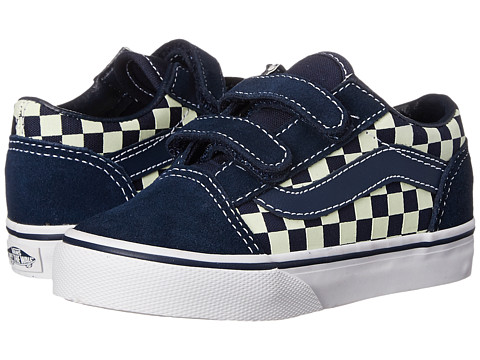 Vans Kids - Old Skool V (Toddler) ((Checkerboard) Dress Blues/Glow In The Dark) Boys Shoes