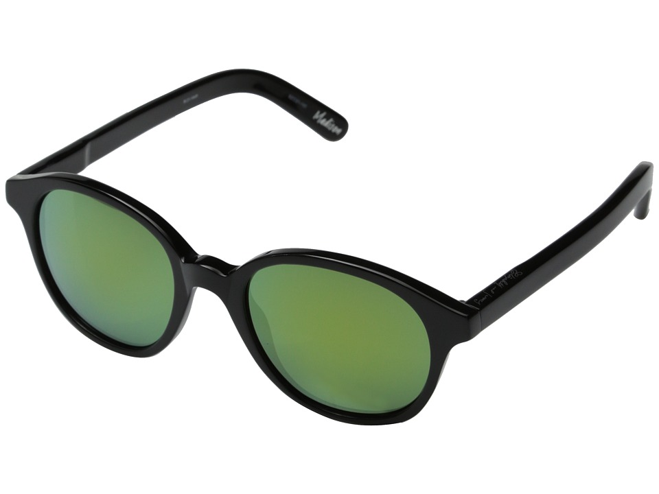 Elizabeth and James - Madison (Shiny Black/Green Revo Lens) Fashion Sunglasses