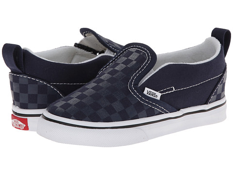 Vans Kids - Slip-On V (Toddler) ((Tonal Check) Dress Blues/True White) Kids Shoes