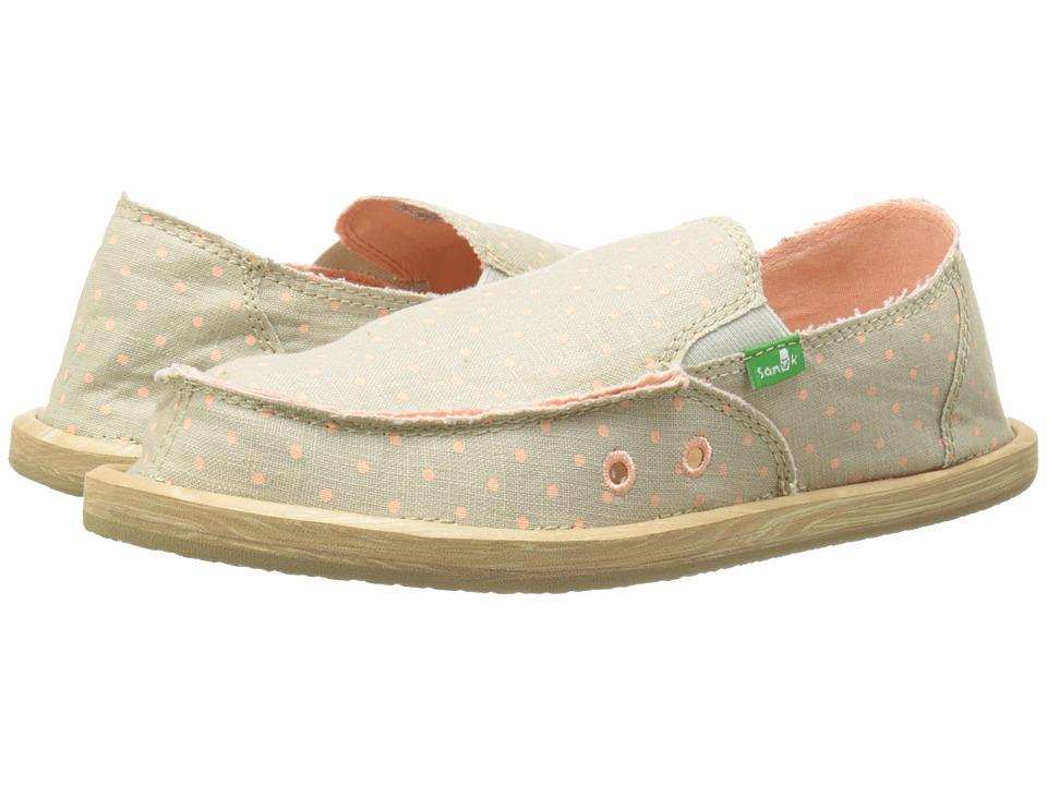 Sanuk Kids Hot Dotty (Little Kid/Big Kid) (Natural/Peach Dots) Girls Shoes