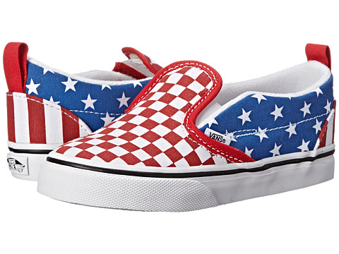 Vans Kids - Slip-On V (Toddler) ((Stars & Stripes) True Red/Classic Blue) Kids Shoes