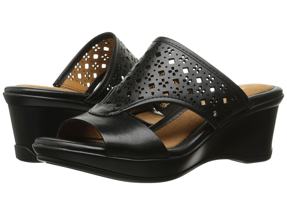 Naturalizer - Vanish (Black Leather) Women's Wedge Shoes