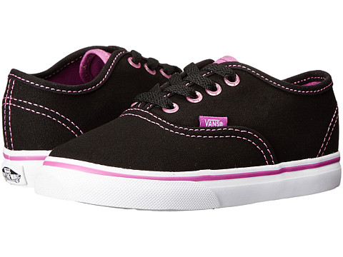 Vans Kids - Authentic (Toddler) ((Clear Eyelets) Black/Radiant Orchid) Girls Shoes