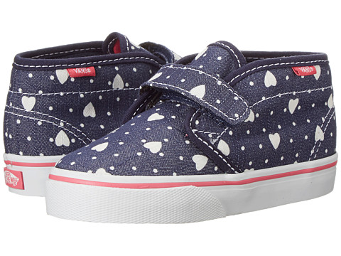 Vans Kids - Chukka V (Toddler) ((Heart Dots) Blue/True White) Girls Shoes
