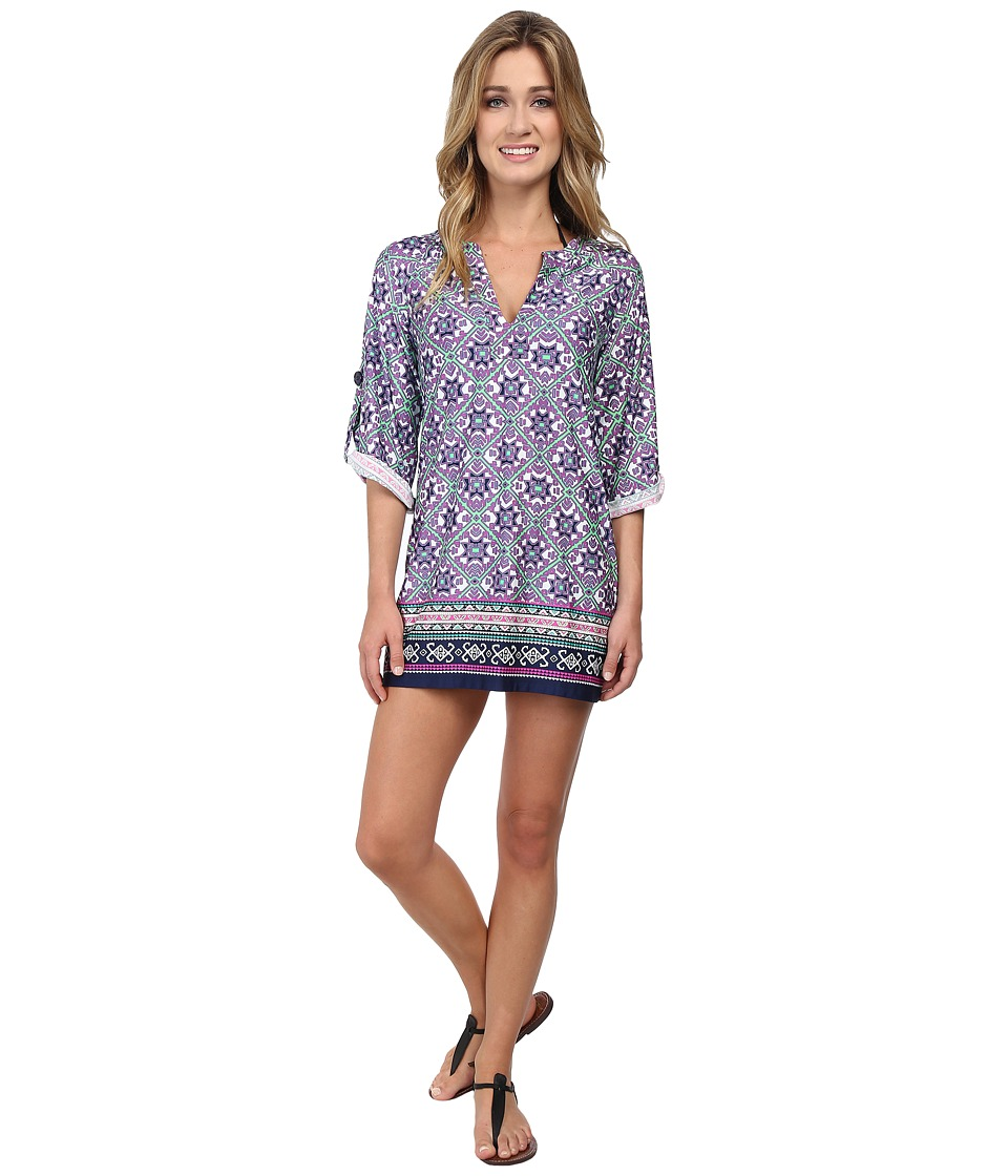 Nanette Lepore - Mallorca Mosaic Tunic Cover-Up (Emerald) Women's Swimwear