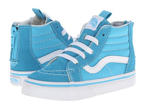 Vans Kids - Sk8-Hi Zip (Toddler) (Cyan Blue/True White) Girls Shoes
