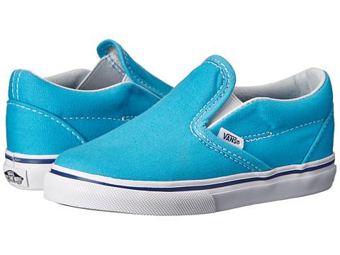Vans Kids - Classic Slip-On (Toddler) (Cyan Blue/True White) Girls Shoes