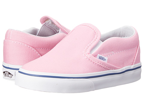 Vans Kids - Classic Slip-On (Toddler) (Prism Pink/True White) Girls Shoes