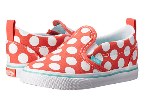 Vans Kids - Slip-On V (Toddler) ((Polka Dots) Hot Coral) Girls Shoes