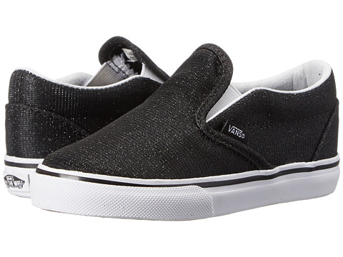 Vans Kids - Classic Slip-On (Toddler) ((Shimmer) Black) Girls Shoes