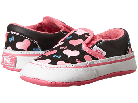 Vans Kids - Classic Slip-On (Infant/Toddler) ((Foil Hearts) Black/Hot Pink) Girls Shoes