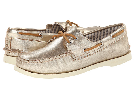 Sperry Top-Sider - A/O 2-Eye Metallic Kid Suede (Platinum) Women's Lace up casual Shoes