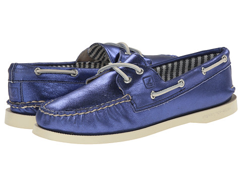 Sperry Top-Sider - A/O 2-Eye Metallic Kid Suede (Blue) Women's Lace up casual Shoes