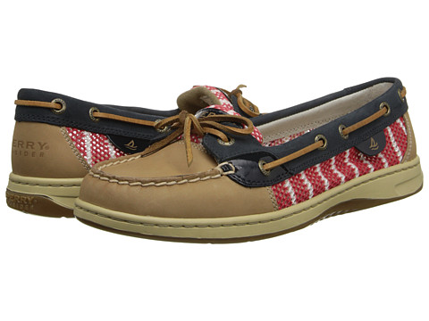 Sperry Top-Sider - Angelfish 2-Eye Breton Stripe Mesh (Linen/Navy/Red) Women