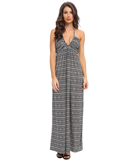Tbags Los Angeles - Deep-Ve Ruched Halter Maxi w/ Braided Ties (ZI6 Print) Women's Dress