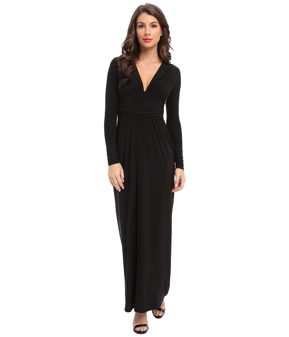 Tbags Los Angeles - Long Sleeve Deep-V Maxi (Black) Women's Dress