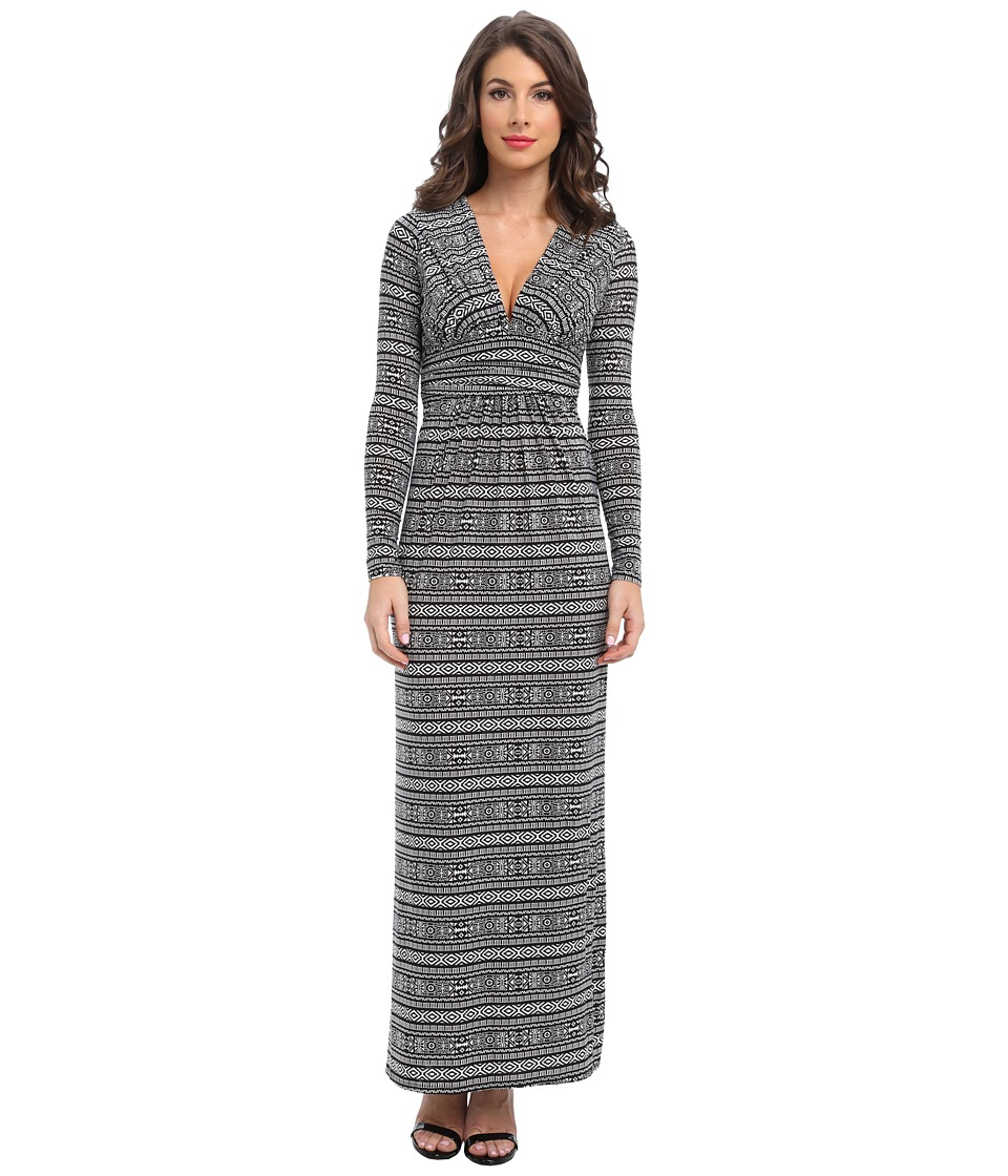 Tbags Los Angeles - Long Sleeve Deep-V Maxi (ZI6 Print) Women's Dress