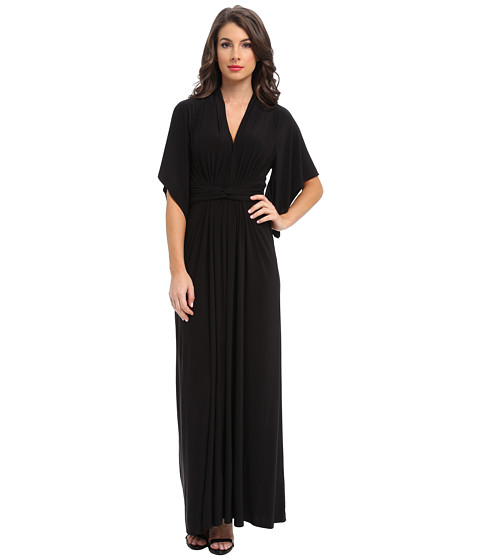Tbags Los Angeles - Dolman Sleeve Ruched Waist Maxi w/ Back Slit (Black) Women's Dress