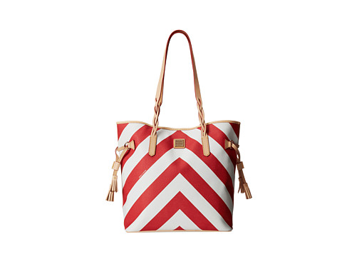 Dooney & Bourke - Large Chevron North/South Bailey Bag (Red w/ Natural Trim) Handbags