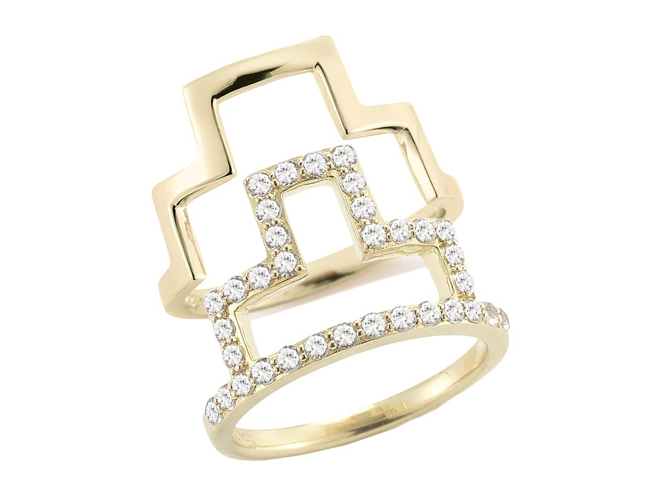 Elizabeth and James - Erte Ring Stack Set (White Topaz) Ring