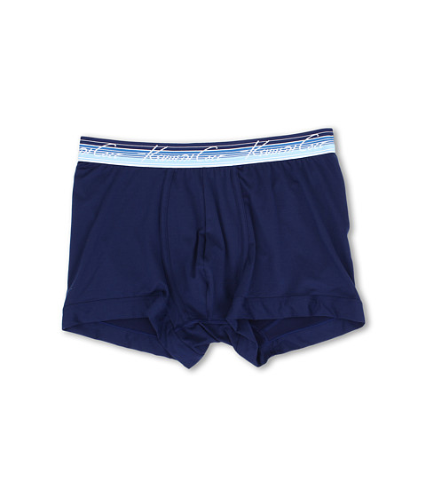 Kenneth Cole Reaction - Silky Soft Stretch Trunk with Striped Waistband (Blue Depths) Men's Underwear