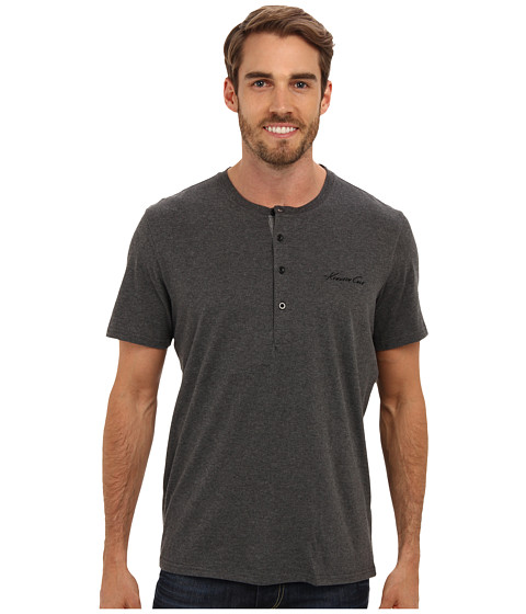 Kenneth Cole Reaction - Super Soft Henley Neck Short Sleeve Tee Shirt (Dark Grey Heather) Men's Short Sleeve Pullover