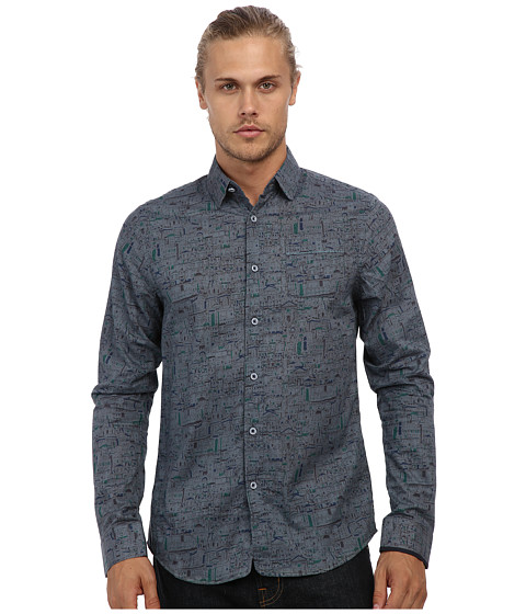 Descendant Of Thieves - Paint By # Renaissance City L/S Woven Shirt (Slate Blue) Men's Clothing