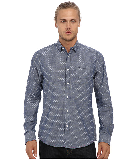 Descendant Of Thieves - S Jacquard L/S Woven Shirt (Chambray Blue) Men's Clothing