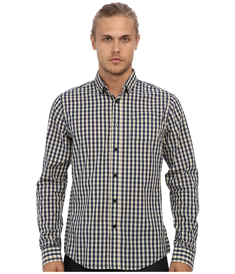 Descendant Of Thieves - Natural Check Mate L/S Woven Shirt (Navy/Natural) Men