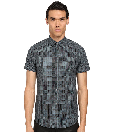 CoSTUME NATIONAL - Short Sleeve Button Up Shirt (Black/Teal) Men's Short Sleeve Button Up