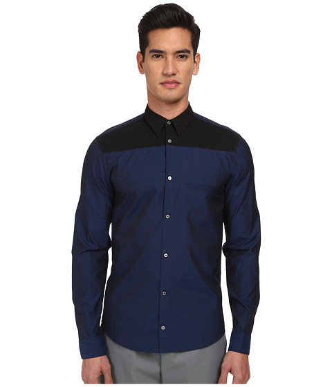 CoSTUME NATIONAL - Bicolor Button Up Shirt (Black/Blue) Men's Clothing