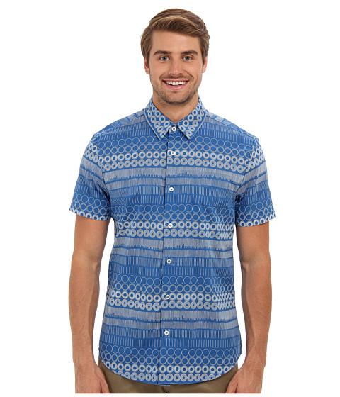 Mr.Turk - S/S Shoreline Slim Jim Shirt (Blue) Men's Short Sleeve Button Up