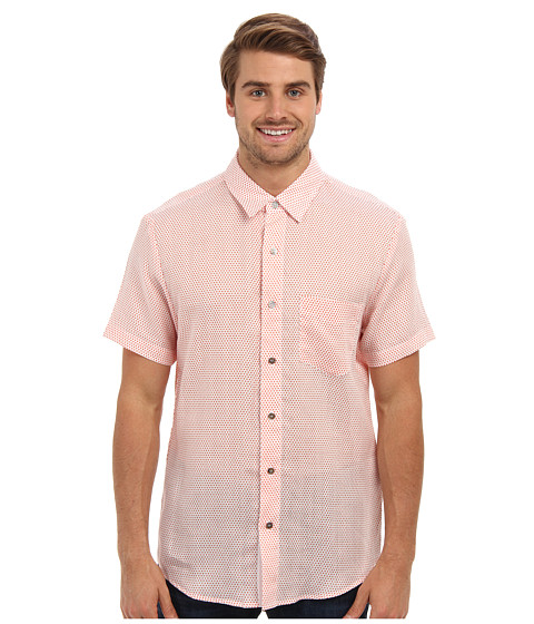 Mr.Turk - S/S Polka Dot Alan Shirt (Orange) Men's Short Sleeve Button Up