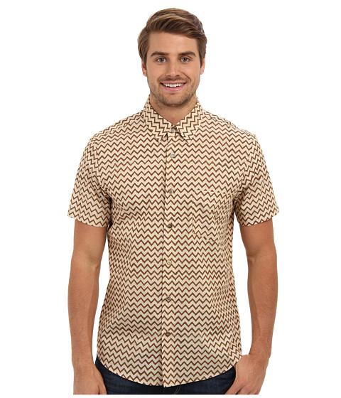 Mr.Turk - S/S Zig Zag Slim Jim Shirt (Natural) Men