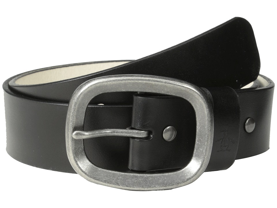 Original Penguin - Solid Leather Belt (Black) Men's Belts