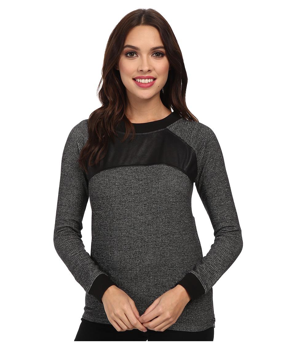 Calvin Klein Jeans - L/S Raglan Crew Neck w/ Side Zip (Black 1) Women's Long Sleeve Pullover