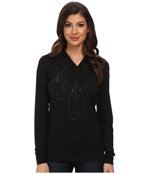 Calvin Klein Jeans - L/S Liquid Cotton Hoodie (Black) Women's Sweatshirt
