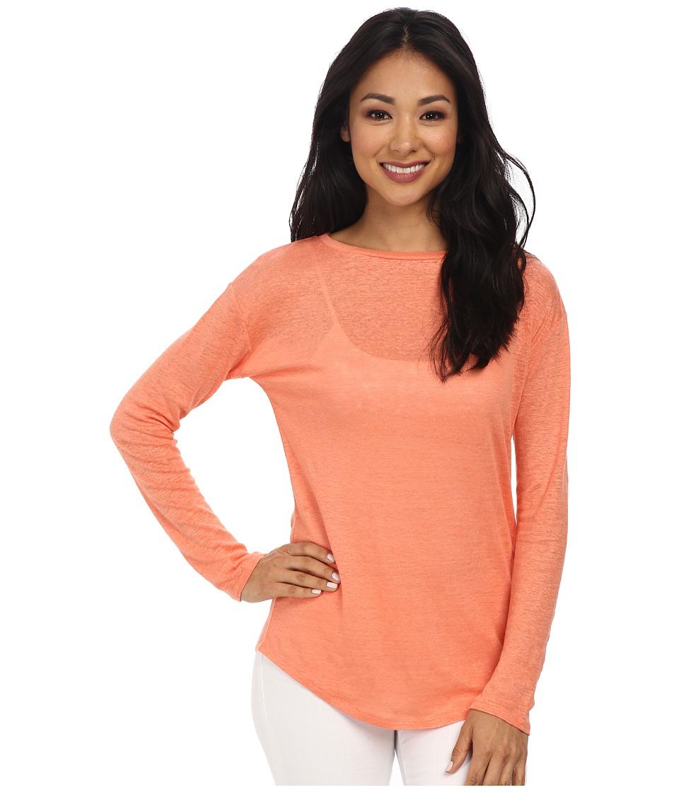 Calvin Klein Jeans - L/S Linen Tee (Geranium) Women's Long Sleeve Pullover
