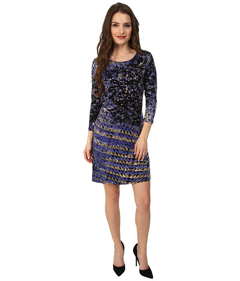 NIC+ZOE - Petite Utopia Twist Dress Hand Painted Feather Knit (Multi) Women's Dress
