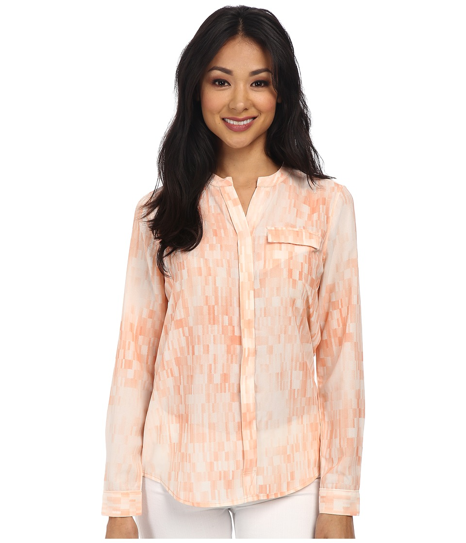 Calvin Klein Jeans - Split Front Printed Button Through (Nectarine) Women's Long Sleeve Button Up