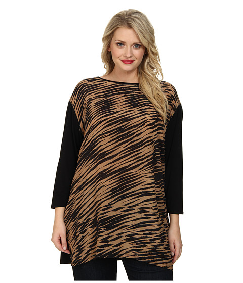 NIC+ZOE - Plus Size Blurred Lines Tunic Top (Multi) Women